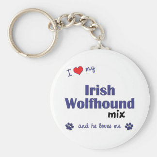 I Love My Irish Wolfhound Mix (Male Dog) Basic Round Button Keychain