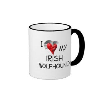 I Love My Irish Wolfhound Ringer Coffee Mug