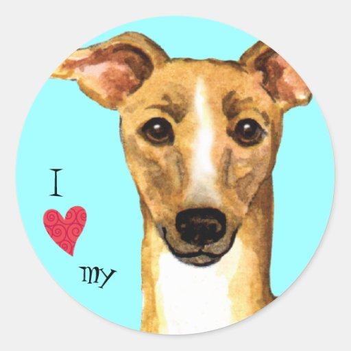 I Love my Italian Greyhound Classic Round Sticker