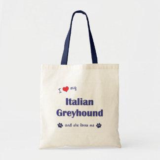 I Love My Italian Greyhound Female Dog Tote Bag