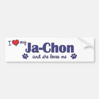 I Love My Ja-Chon (Female Dog) Bumper Sticker