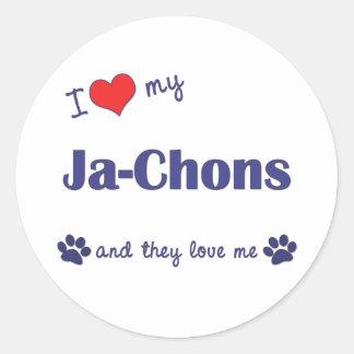 I Love My Ja-Chons (Multiple Dogs) Classic Round Sticker