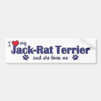 I Love My Jack-Rat Terrier (Female Dog) Car Bumper Sticker