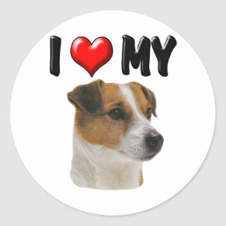 I Love My Jack Russell Classic Round Sticker