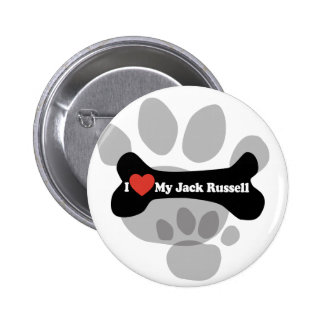 I Love My Jack Russell  - Dog Bone 2 Inch Round Button