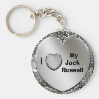 I Love My Jack Russell Heart Keychain