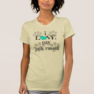 i LOVE my jack russell, paw prints & hearts T-Shirt