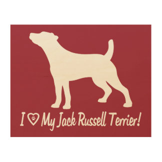 I Love My Jack Russell Smooth Coat in Silhouette Wood Wall Decor