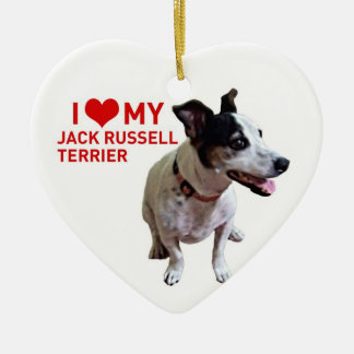 I love my Jack Russell Terrier Double-Sided Heart Ceramic Christmas Ornament