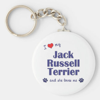 I Love My Jack Russell Terrier (Female Dog) Basic Round Button Keychain