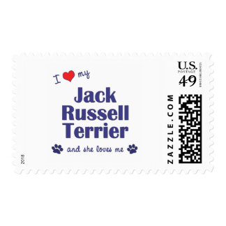 I Love My Jack Russell Terrier (Female Dog) Postage Stamps