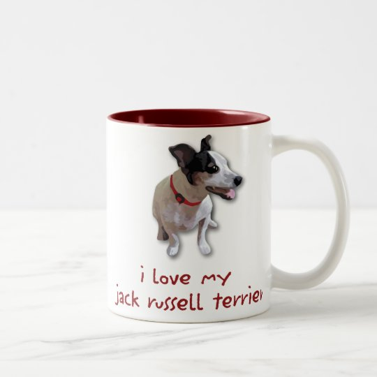 i love my jack russell terrier Two-Tone coffee mug