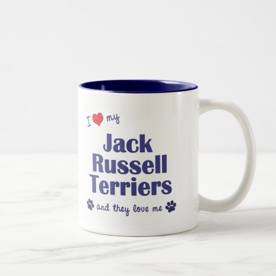 I Love My Jack Russell Terriers (Multiple Dogs) Two-Tone Coffee Mug