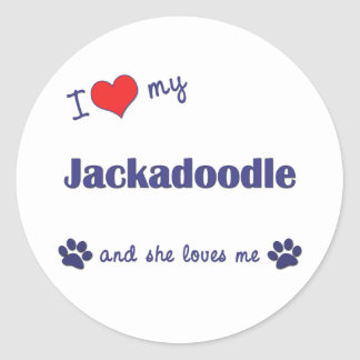 I Love My Jackadoodle (Female Dog) Classic Round Sticker