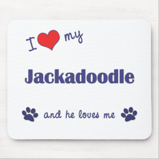 I Love My Jackadoodle (Male Dog) Mouse Pad
