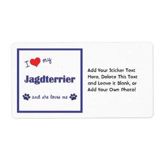 I Love My Jagdterrier (Female Dog) Label