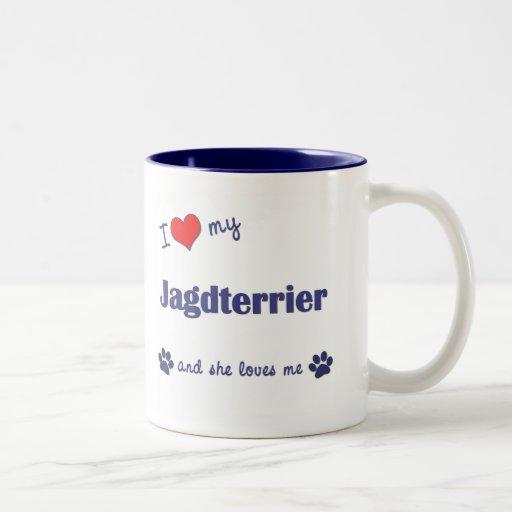 I Love My Jagdterrier (Female Dog) Two-Tone Coffee Mug