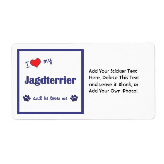 I Love My Jagdterrier (Male Dog) Shipping Label