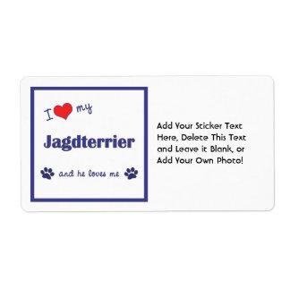 I Love My Jagdterrier (Male Dog) Label
