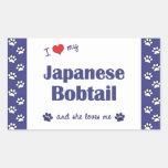 I Love My Japanese Bobtail (Female Cat) Rectangular Stickers