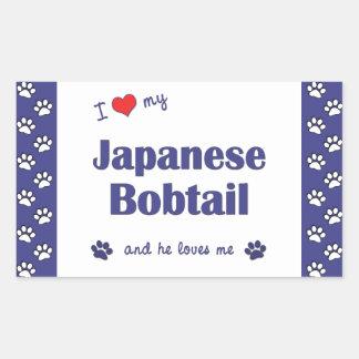 I Love My Japanese Bobtail (Male Cat) Rectangular Sticker