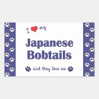 I Love My Japanese Bobtails (Multiple Cats) Rectangular Sticker