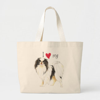 I Love my Japanese Chin Large Tote Bag
