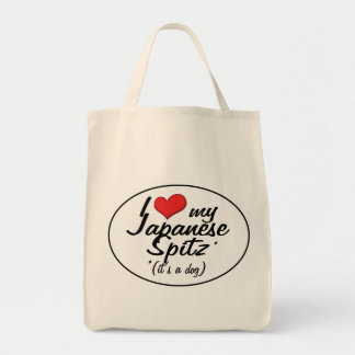 I Love My Japanese Spitz (It's a Dog) Tote Bag