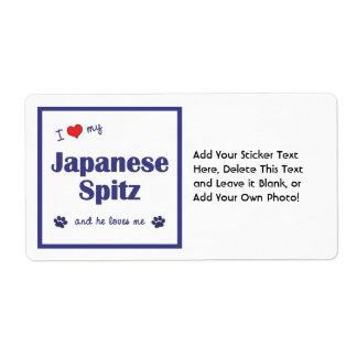 I Love My Japanese Spitz (Male Dog) Personalized Shipping Label