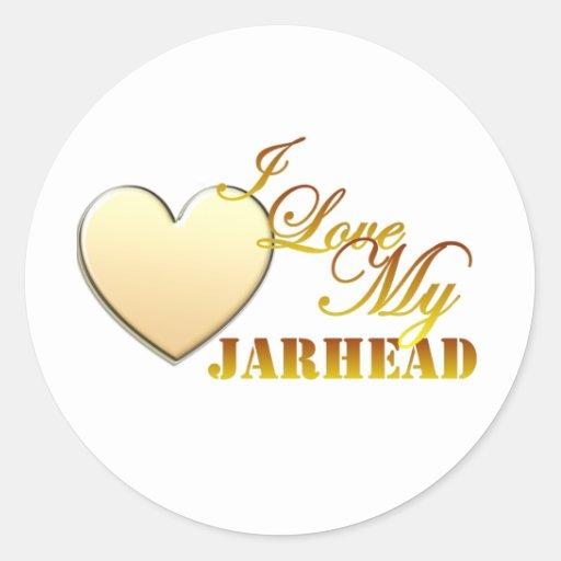 I Love My Jarhead Round Stickers