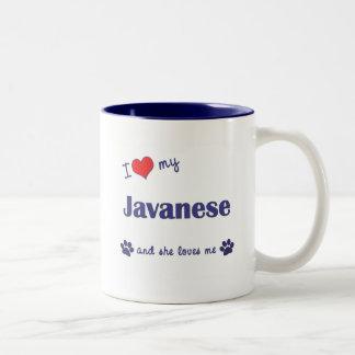 I Love My Javanese (Female Cat) Two-Tone Coffee Mug