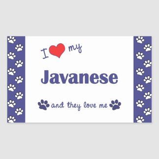I Love My Javanese (Multiple Cats) Rectangular Sticker