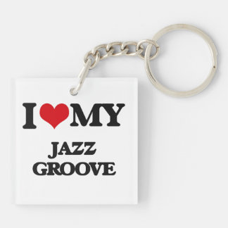 I Love My JAZZ GROOVE Square Acrylic Keychains