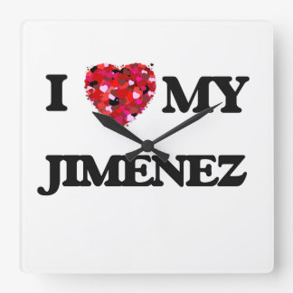 I Love MY Jimenez Square Wall Clock