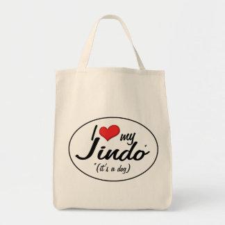 I Love My Jindo (It's a Dog) Grocery Tote Bag