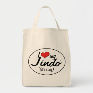 I Love My Jindo (It's a Dog) Grocery Tote Bag