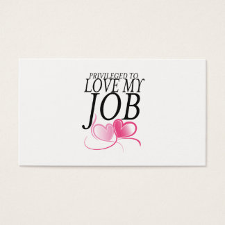 I Love my Job Business Card with Pink Heart