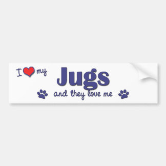I Love My Jugs (Multiple Dogs) Bumper Sticker
