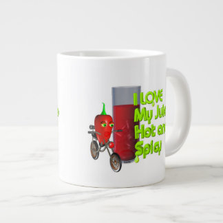 I love my juice hot and spicy by Valxart Giant Coffee Mug