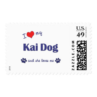 I Love My Kai Dog (Female Dog) Stamp