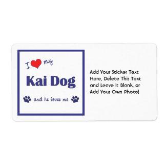 I Love My Kai Dog (Male Dog) Shipping Label