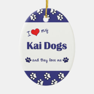I Love My Kai Dogs (Multiple Dogs) Christmas Ornament
