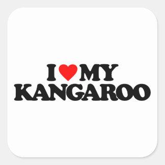 I LOVE MY KANGAROO SQUARE STICKER