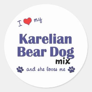 I Love My Karelian Bear Dog Mix Female Dog Round Sticker