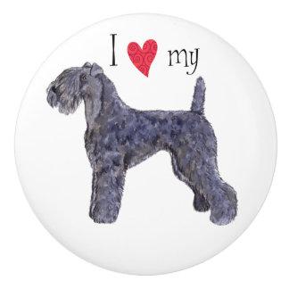 I Love my Kerry Blue Terrier Ceramic Knob