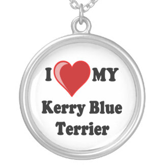 I Love My Kerry Blue Terrier Silver Necklace Round Pendant Necklace