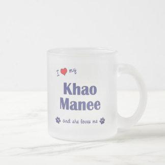 I Love My Khao Manee (Female Cat) Frosted Glass Coffee Mug