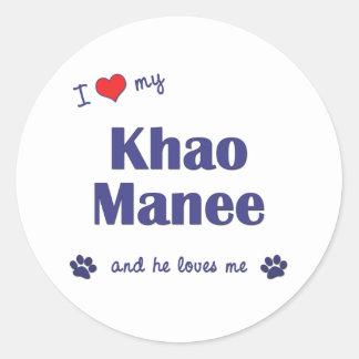 I Love My Khao Manee (Male Cat) Classic Round Sticker