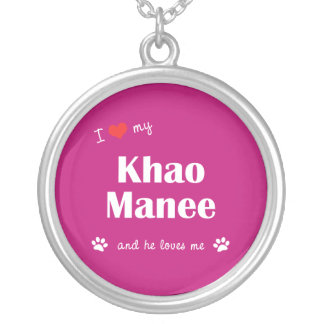 I Love My Khao Manee (Male Cat) Round Pendant Necklace