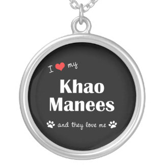 I Love My Khao Manees (Multiple Cats) Round Pendant Necklace